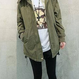 fashion - Image of  [grzxy6600842]Hot Simple Military Inspired Casual Warmer Long Hooded Padded Jacket
