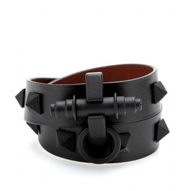 GIVENCHY - OBSEDIA STUDDED LEATHER WRAP BRACELET