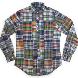 "Ralph Lauren - Men's ""CUSTOM FIT"" Madras Patch-work Shirts"