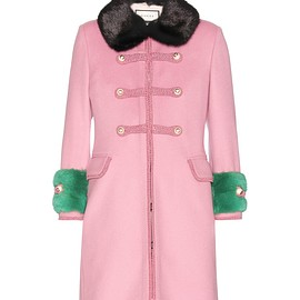 GUCCI - Resort 2016 Mink fur-trimmed wool coat