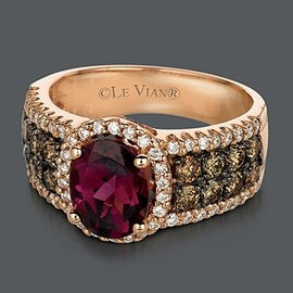 le vian - Le Vian - Garnet, Chocolate Diamond & White Diamond Ring /  14k Rose Gold