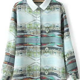 romwe - Green Lapel Long Sleeve House Print Blouse pictures