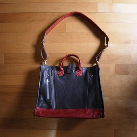 "CYDERHOUSE - RIDERS TOTE BAG ""NAVY x RED"""