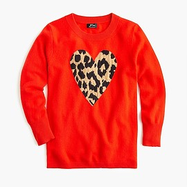 J.CREW - Everyday cashmere crewneck sweater with leopard heart