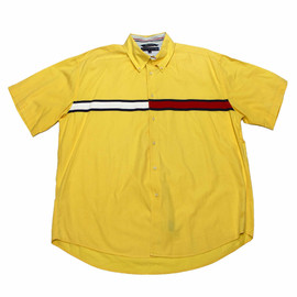 TOMMY HILFIGER - Vintage 90s Yellow Tommy Hilfiger Button Down Shirt Mens Size XXL