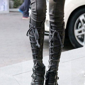 shoes - Elastic Warm Individualized Street-chic Lace Up Slim Leggings Skinny Pants