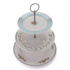 Cath Kidston - 3 TIER CAKE STAND / TEA ROSE STRIPE BLUE