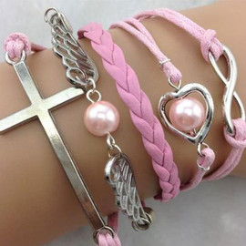 Love Heart Angel's Wing Cross String Bead Bracelet