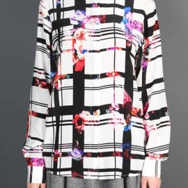 MSGM - 2013/AW ■CHECK AND FLORAL PRINT SHIRT WITH CONCEALED BUTTON FRONT CLOSURE 1
