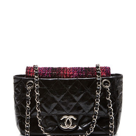 CHANEL - Black Patent & Boucle Shoulder Bag