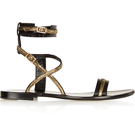LANVIN - Metallic-trimmed leather sandals