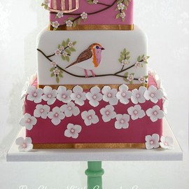party! - bird & flowers decoration cake
