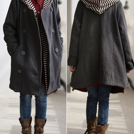 jacket - Hearts/ autumn cotton double breasted hooded coat