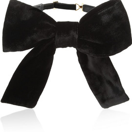 SAINT LAURENT - Velvet and leather bow-tie collar