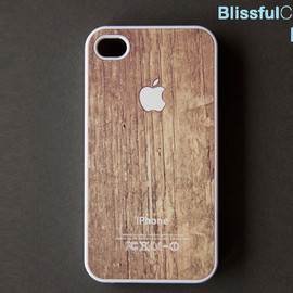 wood print iphone4 case - iphone 4 case - Apple logo on wood print - white