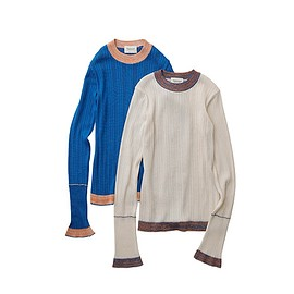 beautiful people - linen like finish silk rib pullover