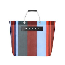 MARNI - MARNI MARKET RED BLUE AND GRAY STRIPED SHOPPING BAG IN POLYAMIDE