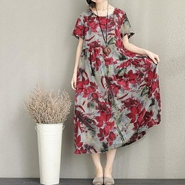 Summer Floral dress - Summer dress, maxi dress, Loose dress, Short sleeve dress, Summer Floral dress, Women's Dresses