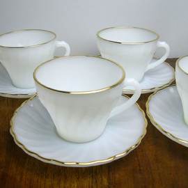 Fire King - White Shell Gold Rim cup & Saucer