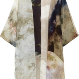 Athena Procopiou - Two Moons printed silk crepe de chine kimono