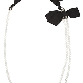 LANVIN - Silver-tone, faux pearl and crystal necklace