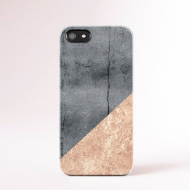 casesbycsera - Concrete Look iPhone Case, Faux Gold Leaf iPhone Case Geometric Cases Samsung S5 Case Grey