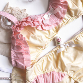 Bra and Panties Set 'Clio' in Sunshine Yellow and Pink Polka Dot Ruffles Made to Order by Ohhh Lulu