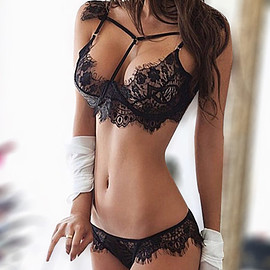 Yoins - Black Lace Strappy Design Lingerie Sets