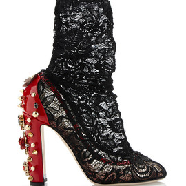 DOLCE&GABBANA - SS2015 Embellished Stretch Lace Low Boots