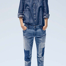 LOFT - LOFT Relaxed Skinny Jeans in Patched Dark Indigo Wash
