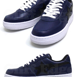 A BATHING APE - LEATHER BAPESTA (NAVY)