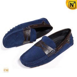 CWMALLS - Mens Leather Penny Loafers Blue CW740111