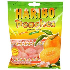 HARIBO - Haribo Gummi Candy, Peaches, 5-Ounce Bags (Pack of 12)