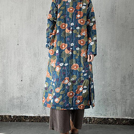 Winter gown - round collar long Cotton and linen Winter dress Winter gown