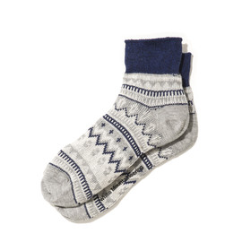 White Mountaineering - COTTON JACQUARD ZIGZAG BORDER PATTERN SHORT SOCKS