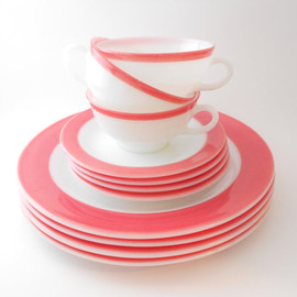Turquoise Stripe Cup, Saucer and Dinner Plate
