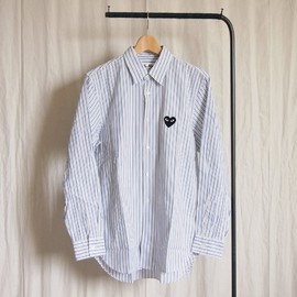 PLAY COMME des GARCONS - 綿ブロードStripe Shirt (黒エンブレム) #white/blue/brown