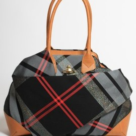 Vivienne Westwood - Fabric Tartan Leather Bag in Black/Tan