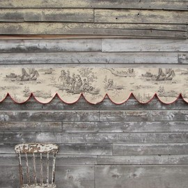divine grey wood, chippie paint and antique French toile