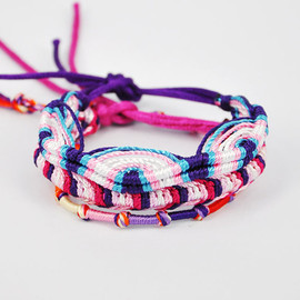 julyjoy - Purple Handmade Multicolor Cotton Friendship Bracelet Set