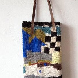 chris van veghel - handmade knitted bag with leather handles
