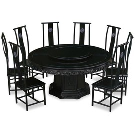 ChinaFurnitureOnline - 66in Rosewood Round Dining Table with 10 Chairs - Dragon Design - Black