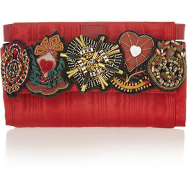 MOSCHINO - Embellished satin-twill clutch