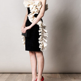 Lanvin - Velvet ruffled strapless dress