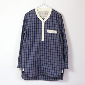 ACTS - [ACTS]NO COLLAR LONG SHIRT (GRAY/NAVY)