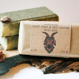 TheBowerStudio - Fragrance Free - Goat Milk & Red Clover Soap Bar - 4oz