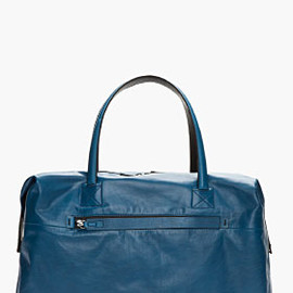 LANVIN - Oversize Blue Leather Bowling Bag