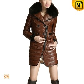 CWMALLS - Women Leather Down Coat CW681153 - cwmalls.com