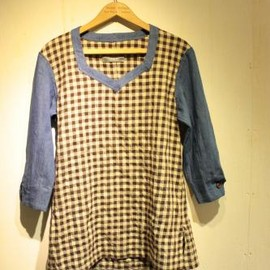 TAKAHIROMIYASHITA THE SOLOIST - tunic shirt 2. blue.×chocolate.
