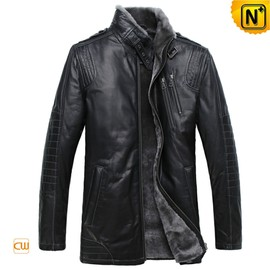CWMALLS - CWMALLS® Wellington Men Black Shearling Leather Coat CW877328 [Multifunctional Coat, Made to Order]